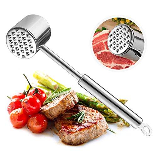 Samione Fleischklopfer, Fleischhammer Rostfreier,Spülmaschinenfester Fleischklopfer aus Edelstahl (Silber)