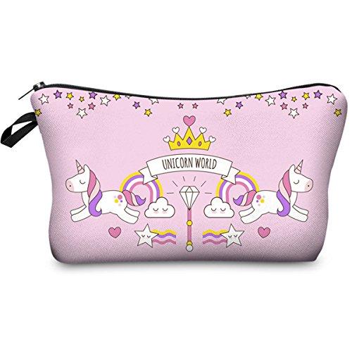 PREMYO Pochette Make Up design Unicorno Rosa Borsetta porta-trucchi Trousse da trucco Beauty Case con chiusura zip ideale per cosmetici e da viaggio. Utilizzabile anche come astuccio portapenne scuola