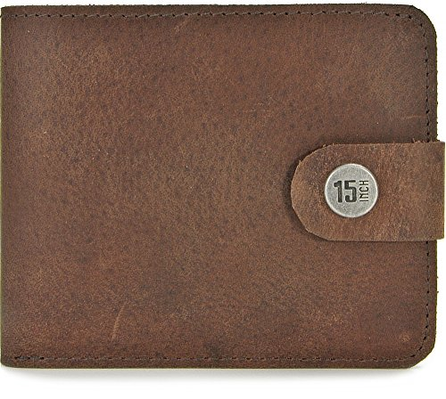 15 INCH BY JEROME WESTFORD, Leder Unisex Geldbörsen, Börsen, Portemonnaies, Brieftaschen, 11 x 9 x 3 cm (B x H x T), Farbe:Dunkelbraun