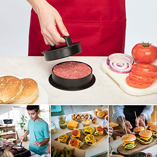 51K s0LkAXL - RunLimL 3 in 1 Burgerpresse Set - Burger Patty Presse für perfekte Burger, Patties oder Frikadellen, Robustes Grillzubehör, spülmaschinenfeste Hamburger Presse + 100 Patty Papers
