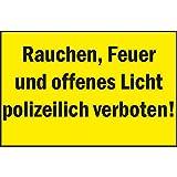 """'Segno di proibizione fumo, fuoco e aperto luce polizeilich vietato."""", A4241KS"""