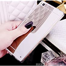 Fundas Huawei P8 Lite, LXHGrowH [Ultra Delgada] Carcasa con espejo para Huawei P8 Lite (2015) Cover silicona tpu protectora Color Plata - LXHGrowH Cubierta