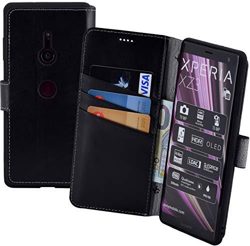 Suncase Book-Style kompatibel für Sony Xperia XZ3 Hülle (Slim-Fit) Leder Tasche Handytasche Schutzhülle Case (mit Standfunktion und Kartenfach - Bruchfester Innenschale) in schwarz