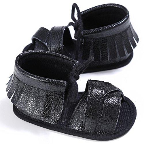 MiyaSudy Babyschuhe Mädchen PU Leder Quaste Sommer Anti-Rutsch Sandalen Schuhe 0-18 Monate Schwarz