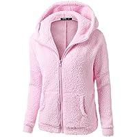 IMJONO Abrigo de invierno con capucha de las mujeres Abrigo de invierno con cremallera de lana caliente Abrigo de algodón Outwear Jacket