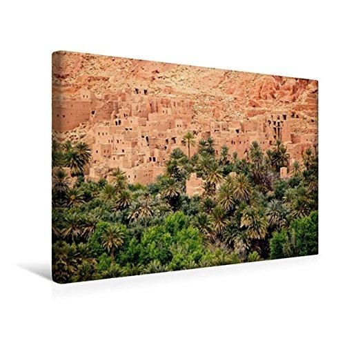 CALVENDO Orte: Premium Textil-Leinwand 45 cm x 30 cm quer, Dattelpalmen bei Tinerhir, Marokko | Wandbild, Bild auf Keilrahmen, Fertigbild auf echter Leinwand, Leinwanddruck