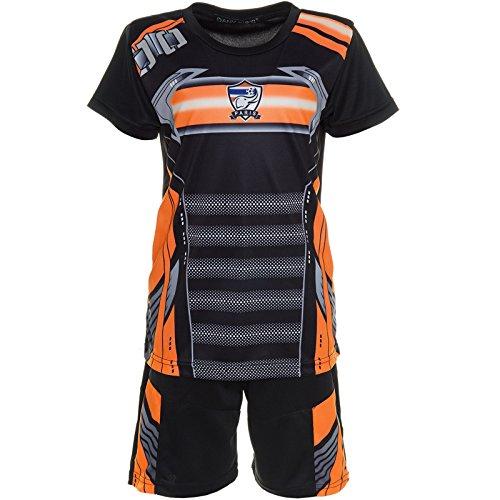 Jungen Sommer Trikot T-Shirt Freizeit Set Kurzarm Shirts Shorts 21319, Farbe:Orange;Größe:104 (Capri Kinder Set)
