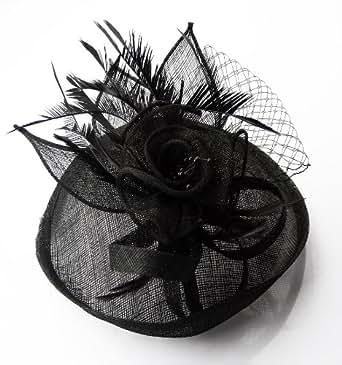 Femmes Noir Fleur Plume Fleur Rond Cheveux Fascinateur