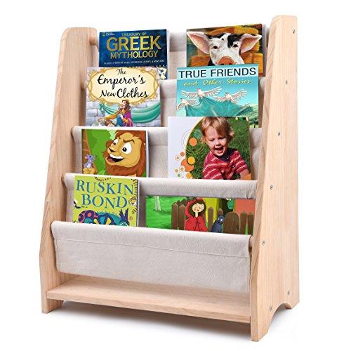 Libreria scaffale per bambini, scaffale libri per bambini safe&care in legno naturale, altezza adatta ai bambini, 4 ripiani in tela, libreria perfetta per riporre-naturale