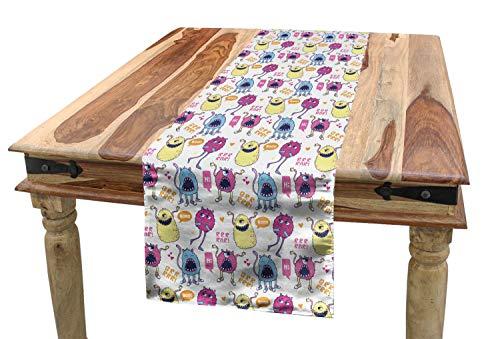 ABAKUHAUS Ausländer Tischläufer, Bunte süße Monster, Esszimmer Küche Rechteckiger Dekorativer Tischläufer, 40 x 180 cm, Mehrfarbig
