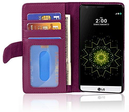 Cadorabo LG G5 Custodia di Libro di Finta-Pelle in Lila Bordeaux – con 3 Vani di Carte e Chiusura Magnetica – Portafoglio Cover Case Wallet Book Etui Protezione