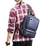 Realmark Mochila de piel multiusos para hombre, con bandolera, bolsa de viaje, color azul oscuro, tamaño talla única