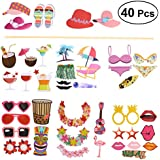 LUOEM Hawaii Beach Party Photo Booth Props Party Supplies Funny Flamingo Photo Props For Summer Themed Party Birthday Party Decoration Favors Supplies 40 Pcs