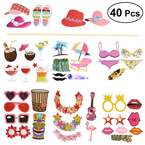BESTOYARD Hawaiian Party Photo Booth Props Strand Pool Party Supplies Foto Requisiten für Sommer festivals Feiern Geburtstag Party Dekorationen 40 Pcs (Supplies Geburtstag Party Für 40.)