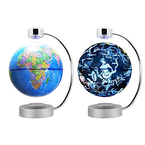 Ruier-hui Globo Flotante de levitación magnética de 8 Pulgadas con Luces LED, Rotación Luminosa Constelación Globe Decoración del hogar para el Aprendizaje Educación Enseñanza