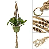 Vintage Hand Knotted Macrame Plant Hanger Holder Jute Hanging Rope with Bead (Style 2)