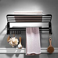 Comparador de precios Taicoen Nordic free punch black towel stand American retro folding towel rack space aluminum bathroom towel bar - precios baratos