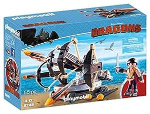 Cómo entrenar a tu dragón-Eret con Ballesta de 4 Disparos Playset de figuras de juguete, color marrón, 28,4 x 9,3 x 18,7 cm Playmobil 9249