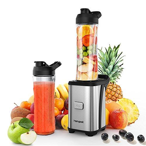 Homgeek Smoothie Maker 4 Edelstahlmesser Mini Blender, Mini Standmixer mit 2 600ml Reise Sport Flaschen BPA-freie Tritan-Trinkflasche, 350W Persönliche Smoothie Blender Obst und Gemüse Juicer Extractor, Edelstahlgehäuse, Silber