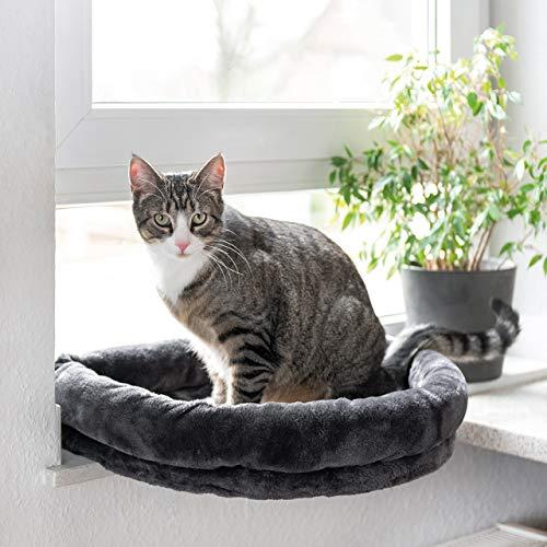 CanadianCat Company ® | LOVESEAT Fensterbett | Liegeplatz mit Polsterung | Anthrazit | für die Fensterbank | Beobachtungsplatz | 55 x 47 x 7 cm | einfache Befestigung