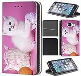 CoverFix Premium Hülle für Samsung Galaxy S4 / S4 Neo Flip Cover Schutzhülle Kunstleder Flip Case Motiv (1404 Katze Katzen Baby Kätzchen Weiß Pink)
