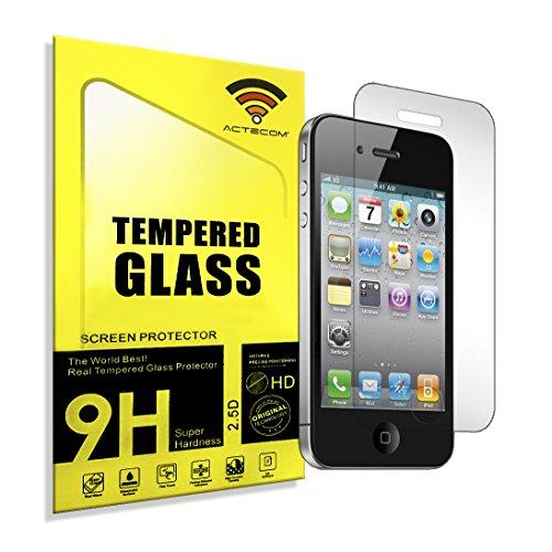 ACTECOM Protector DE Pantalla para iPhone 4 4S 4G Cristal Vidrio Templado