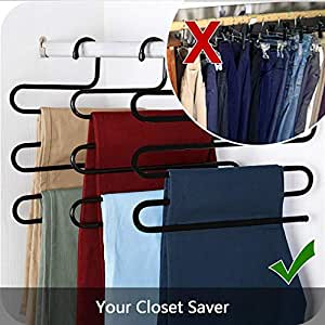 House of Quirk Stainless Steel Metal S-Shape 5 Layers Trouser Pants Hanger - Set of 3