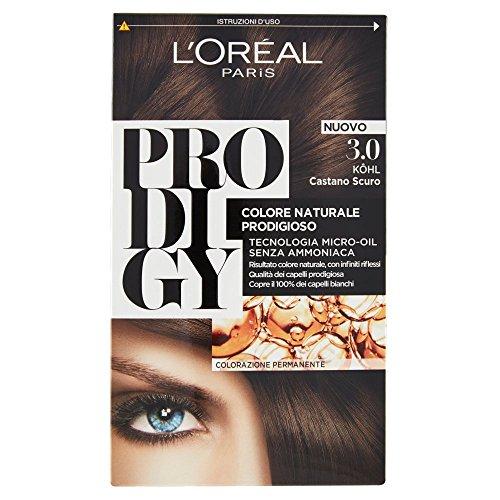 L'Oréal Paris Prodigy Colorazione Permanente, 3.0 Kohl Castano Scuro