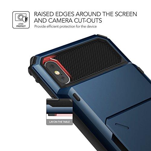 iPhone X Hülle, VRS Design® Kartenfach Schutzhülle [Rot] Schlagfesten Case Kratzfeste Stoßsichere Handyhülle [Damda Folder] für Apple iPhone X Deepsea Blue