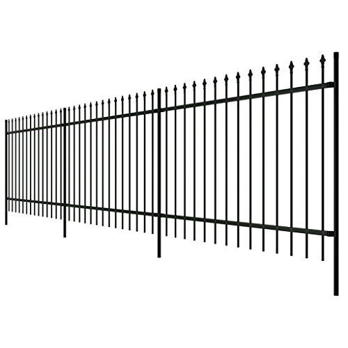 Festnight- Doppelstabmattenzaun Zaun Komplettset Dekorativer Gartenzaun Stahl Schwarz Gespitzt 100 cm