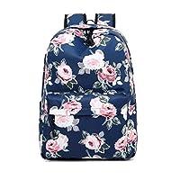 Acmebon Waterproof Women Backpack Purse Floral Print Cute School Backpack for Girl Peony Blue