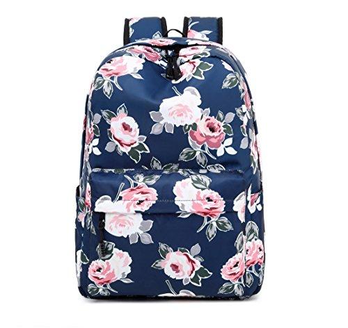 62f38b4d7fb9 Acmebon Waterproof Women Backpack Purse Floral Print Cute School Backpack  for Girl Peony Blue