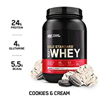 Optimum Nutrition Gold Standard 100% Whey Protein Powder, Cookies And Cream, 1.85 Pound