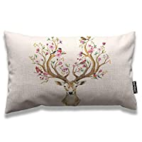 ‏‪AOYEGO Antler Throw Pillow Cover 12x20 Inch Deer with Flowers Birds on Horns Like Tree Branches Cherry in Spring Rectangle Pillow Cases Home Decorative Cotton Linen Cushion Cover for Bed Sofa Brown‬‏