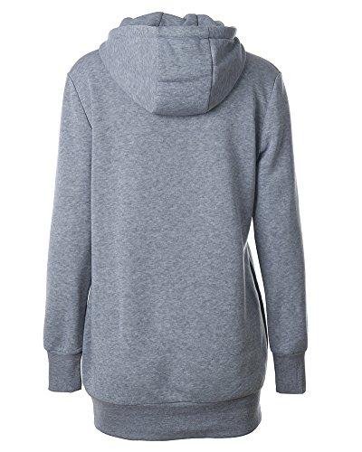 Femme Sweat-shirt à Capuche Mini Robe Pull Tunique Sport Sweat Top Couleur Unie Pull-over Gris