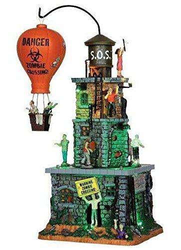 Lemax - Zombie Fortress - Festung - 11,50cmx34cmx22cm - Animiertes Gebäude mit Sound - Porzellan - Halloween Village - Spooky Town - Dorf