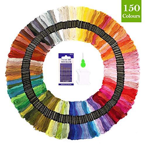 SOLEDI Stickgarn Embroidery Floss multifarben weicher Polyester perfekt für Bracelets Freundschaftsbänder Kit Stickerei Threads Einweg Leisure Arts Kreuzstich Nähgarne Häkeln 8m (150 Farben)