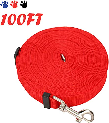 HYLH 100FT Red Dog Training Lead Long Line Perros