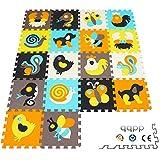 qqpp Puzzles de Suelo,Alfombra Puzzle de 18 Piezas   Animal (30*30*1.0CM)   Alfombrilla de Juego Infantil   Gomaespuma EVA   Lavable   Colores Resistentes Rompecabezas  