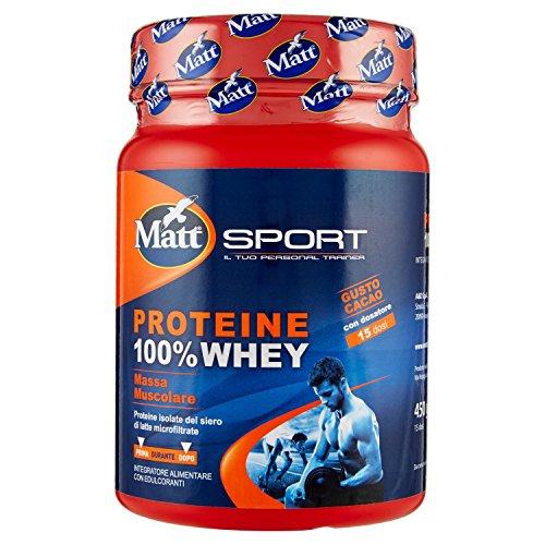 matt sport - proteine 100% whey 450g- integratore proteine isolate del siero di latte in polvere - promuove la crescita e il mantenimento della massa muscolare - bevanda al gusto cioccolato