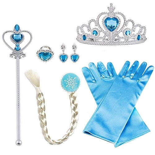 Azul ML Accesorios Princesa de Diadema,Varita y Clip de Trenza 2-9 a/ños,