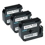3 Schriftbänder für Brother MK-231, P-Touch 50 60 65 75 80 85 90 110 BB4 12mm/8m - Schwarz auf Weiß (Thermofarbband)
