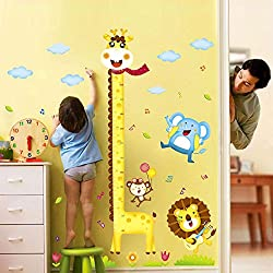 Pegatina Pared Vinilo Decorativo Adhesivo Medidor Infantil Decoración Hogar Dormitorio Armario Jirafa Animales Coloridos