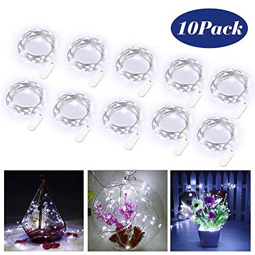 Nakeey 20 LEDs 2M Flaschen Licht Kaltweiß,Lichterketten Batterie Kupfer Drahtlichterkette Weihnachten Batteriebetrieben wasserdichte Lichter Flasche Dekoration,10er Stück
