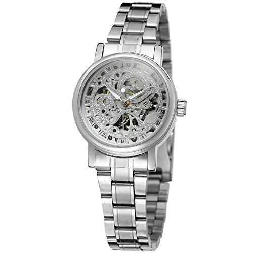 Forsining Damen Uhr Analog Automatik mit Edelstahl Armband