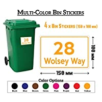 Pack of 4 A6(150 x 100 mm) Size Personalised Custom Wheelie Bin Stickers with Your House Number, Digit, Letter & Road Name,Waterproof Labels or Decals#PBN06(Yellow) Stickers Limited