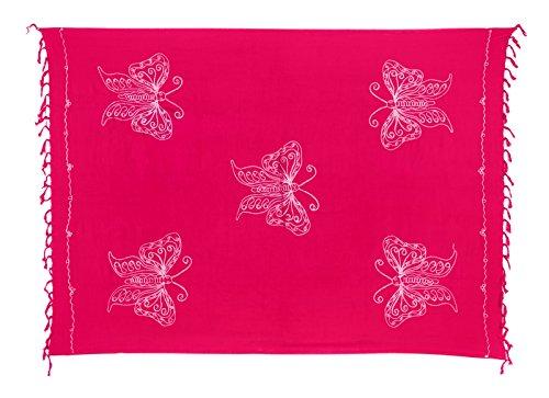 Riesen Auswahl - Sarong Pareo Wickelrock Strandtuch Tuch Wickeltuch Handtuch - Blickdicht - Handbestickt inkl. Schnalle in Schmetterlingform Pink