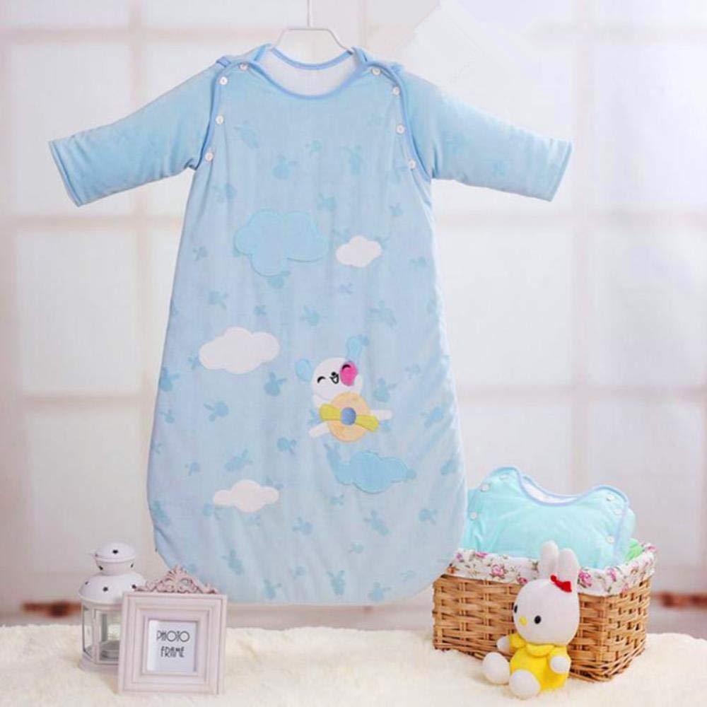 Syeed Saco de Dormir de algodón para bebés Saco de Dormir para bebés de Manga Larga Invierno 0-3 años Recién Nacido sobre, Azul