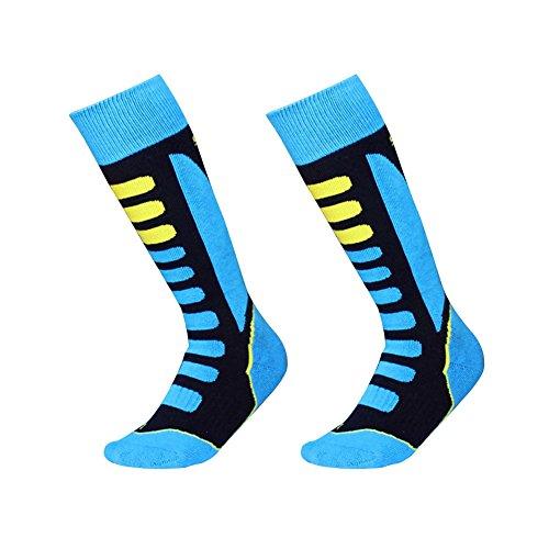 Barrageon 2 paia calze da sci termiche calde per sci, snowboard, escursionismo, arrampicata, ciclismo, trekking e altri sport invernali controllo dell'umidità potenziato calore anti-batterici anti-odore per bambino bambina blu eu 27-30