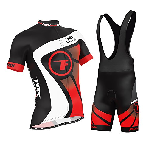 FDX Mens Cycling Jersey Half Sleeve Racing Team Breathable Biking Top + Bicycle Riding Bib shorts set (Red, Large)